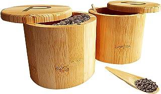 Weskjer Récipient à épices rond, boîte à sel en bambou Stockage et organisation durables et sécurisés pour les assaisonnem...