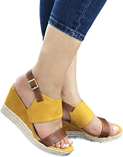 Vila Veloni Women Malaga Platform Wedge Sandals-Comfort Open Toe Buckle Strap Summer Casual Heeled Slip-on