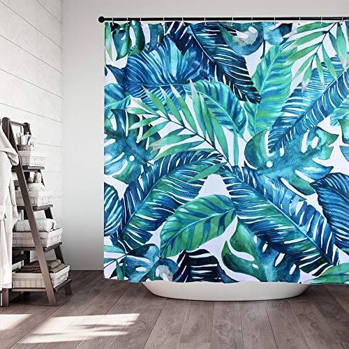 Hoomall Duschvorhang 180x180cm Anti-schimmel Badezimmer Deko wasserdichte Waschbar Shower Curtain mit 12 Ringe 3D Grün Pflanzen (grün)