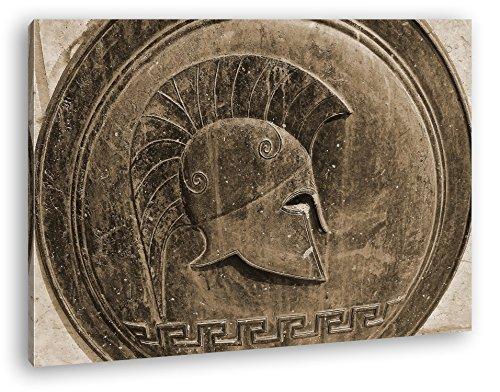 deyoli Altes Romana Bronce Relief Gladiator Efecto: Sepia como Lienzo, diseño Enmarcado en Marco de Madera, impresión Digital Marco, no es un póster o Cartel, 80x60