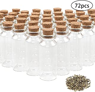 CUCUMI 72pcs 20ml Mini Glass Bottles with Cork Stoppers Wish Bottles Information Bottles Glass Jars Bottles with 100pcs Eye Screws for DIY Creation Wedding Party Birthday Party Favors