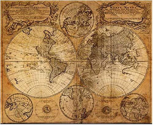 dilib 世界地図 ポスター アンティーク風世界地図 アンティークマップ 壁飾り 絵画 写真 インテリアファブリック 印刷布製 おしゃれ インテリア ヴィンテージ ワールドマップ 古地図 (40cm*50cm)