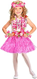 PRETYZOOM 6Pcs Tropical Hula Grass Skirt Hawaiian Fancy Dress Costume Set Flower Bra Skirt Bracelets Headband Necklace for Hawaii Luau Summer Beach Party Costume