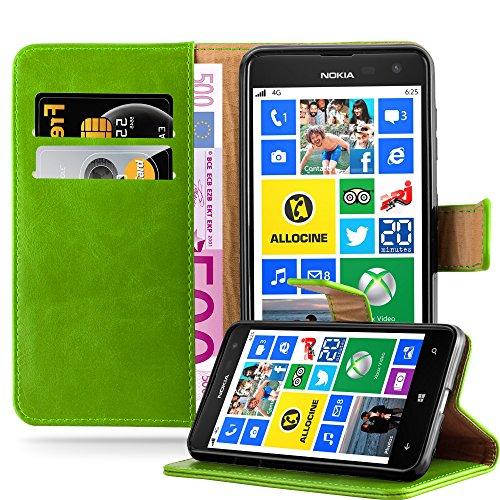 Cadorabo Hülle für Nokia Lumia 625 - Hülle in Gras GRÜN – Handyhülle im Luxury Design mit Kartenfach & Standfunktion - Case Cover Schutzhülle Etui Tasche Book