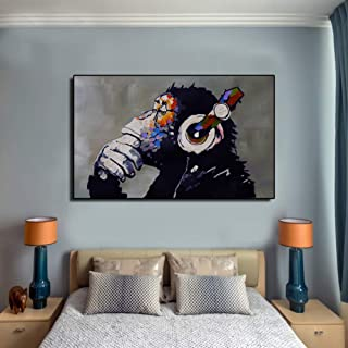 لوحة فنية جدارية من جودو جيه كيه لقرد يستمع الى الموسيقى بالوان زيتية بتصميم مناسب لديكور الغرف المنزلية بدون اطار