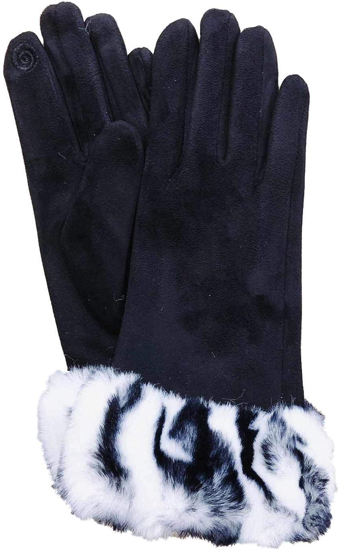Womens Black & White Zebra Print Stretch Fit Texting & Tech Touchscreen Gloves