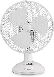 TROTEC Ventilador de Mesa TVE 9 / Oscilación Automática de 90° / 2 Velocidades de Ventilación / Sobremesa / Pie de Apoyo Estable / Rejilla de Metal / Silencioso / 30 W / Blanco