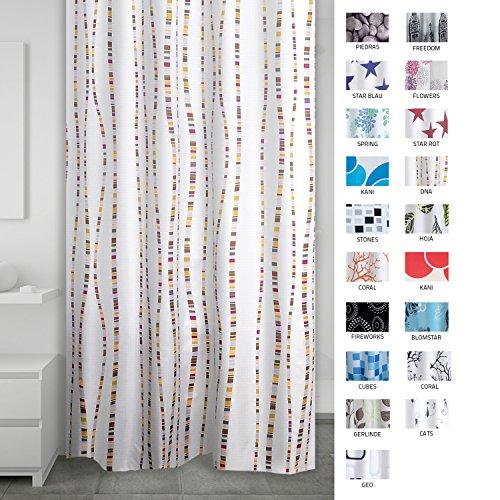 Ridder 403220–00 Rideau de douche en textile, plastique, multicolore, 200 x 180 cm