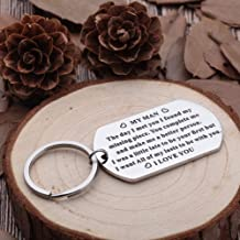 Anniversary Gifts for Him Men Husband to My Man Keychain I Love You Gifts for Hubby Boyfriend Birthday Valentine's Day Fiance Groom Wedding Couple Gifts Key Chain from Girlfriend Wife