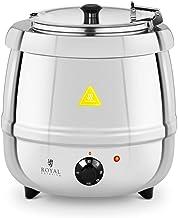 Royal Catering Soupière électrique Professionnelle RCST-10SB (10 litres, 400 W, 35-80 °C, Cuve Amovible, Couvercle, INOX)