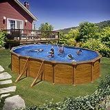Gre KIT500WB Piscina con bordi Piscina ovale 14550L Blu, Legno piscina fuori...