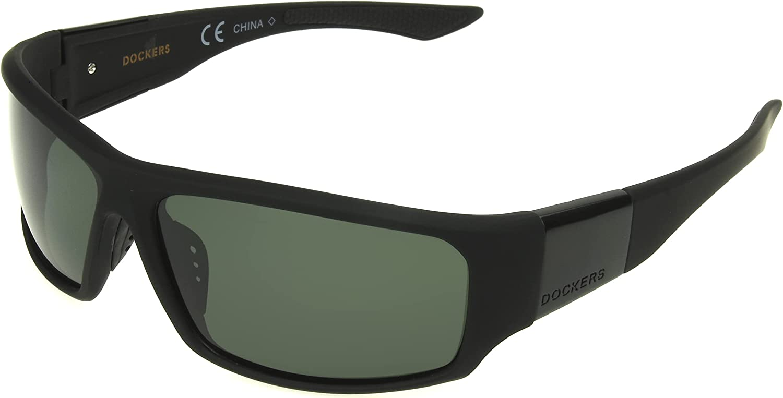 Dockers Men's Gavin Sunglasses Polarized Wrap, Black, 57mm