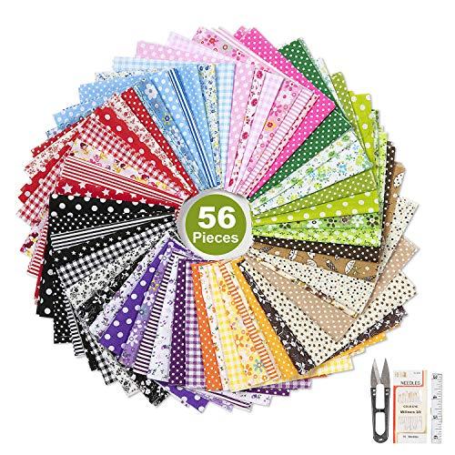 ZWOOS 56 Pièces Tissus Patchwork Tissus Coton Couture Fleuri Ensemble DIY Bricolage Tissu Coton au Metre Mixtes Textile Tissu Carrés Patchwork Coton Tissu DIY Fait à la Main, 25 x 25 cm