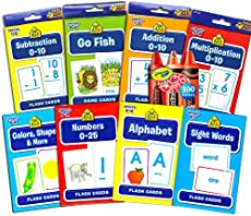 School Zone Flash Cards Super Set for Toddlers/Kids ~ 8 Packs (ABC, Numbers, Colors and Shapes, Addition, Subtraction, More with 300 Reward Stickers)