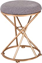 Linen Round Ottomans Footrest Stools Dressing Stool, Rest Extra Seat Bedroom & Living Room Furniture