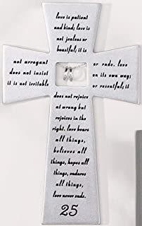 Roman 25th Silver Wedding Anniversary Wall Cross Love Never Fails