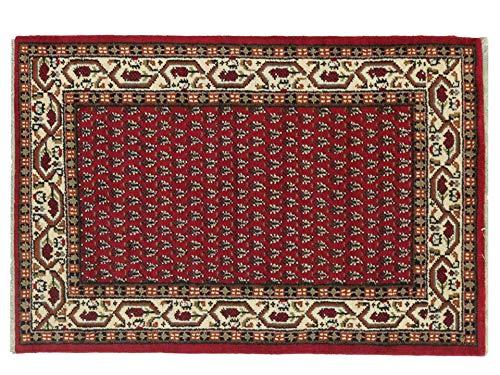 Indo Sarough Mir Beige Rot Orient Teppich Handgeknüpft 100% Schurwolle Herati Rot 180x120 cm