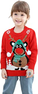 Unisex Kid's Rudolph Reindeer 3D Nose Ugly Christmas Sweater Jumper for Girls