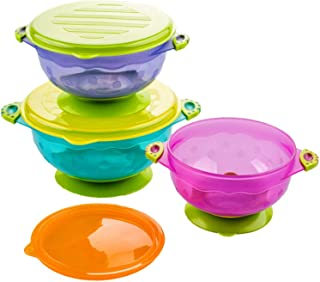 Silikong Suction Bowls for Toddlers, BPA Free, Dishwasher and Microwave Safe. Stay Put Dishes for Kids, Babies and Infants...