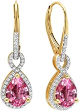 Dazzlingrock Collection 10K 8X6 MM Each Pear Lab Created Gemstone & Round Diamond Ladies Dangling Earrings, Yellow Gold