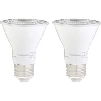 AmazonBasics 50W Equivalent, Daylight, Dimmable, 10,000 Hour Lifetime, PAR20 LED Light Bulb | 2-Pack
