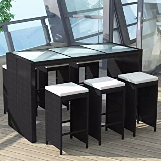 Tidyard 7 Pieces Outdoor Garden Wicker Bar Dining Patio Set with Glass Tabletop, Comfortable Cushions, Poly Rattan Black