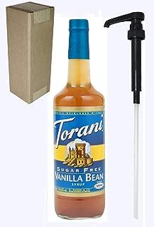 Torani Sugar Free Vanilla Bean Flavoring Syrup, 750mL (25.4 Fl Oz) Glass Bottle, Individually Boxed, With Black Pump