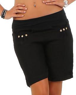 22fc32c4840d94 Malito Damen Bermuda aus Leinen | lässige Kurze Hose | Shorts für den Strand  | Pants