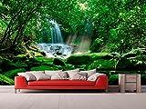 Fotomural Vinilo Pared Cascada Bosque Tropical| Fotomural para Paredes | Mural | Vinilo Decorativo | Varias Medidas 200 x 150 cm | Decoración comedores, Salones, Habitaciones.