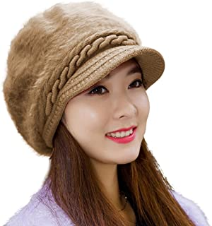 HINDAWI Winter Hats for Women Outdoor Warm Knit Snow Ski Crochet Skull Cap with Visor