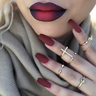 Fdesigner Coffin Matte False Nails Fashion Nude Fake Nails Acrylic Nail Art Accessories Long Press on Nails Artificial Nail Decoration French Fake Nail Tips for Women (Red)