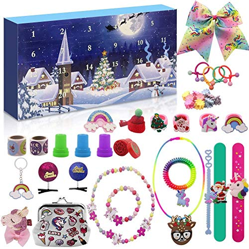 DZY Advent Calendar 2020 for Girls with 24 Unique Christmas Unicorn Gifts - Include Hair Accessories, Jewelry, Stickers and More! Christmas Countdown Calendar Xmas Party Favor Gifts for Kids