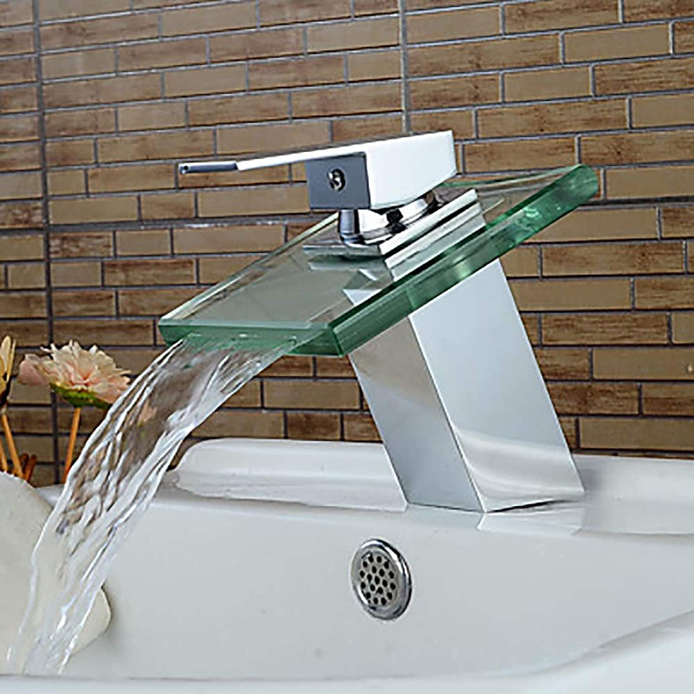 KJDFN Moderne Silber Wei Glas Waschbecken Wasserhahn - Wasserfall Einhand EIN Hahn Messing Elegant