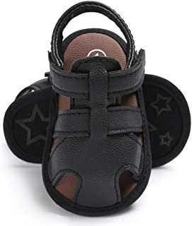 Amiley Summer Spring Baby Toddler Hook & Loop Boys Cute Crib Shoes T-Tied Soft Prewalker Soft Sole Anti-Slip Newborn Shoes Sandals (Inches:4.3