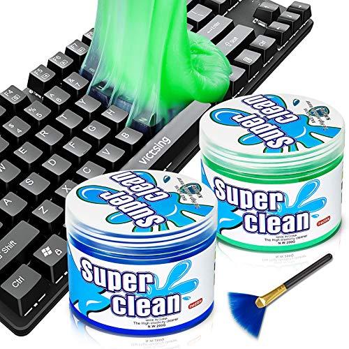 Tastatur Reinigungsgel, 2 Stück 200G Tastatur Reinigung Staubreiniger Reinigungsgel Reinigungsknete für PC Tablet Laptop Tastaturen, Auto Entlüftungsöffnungen, Kameras, Drucker, Taschenrechner
