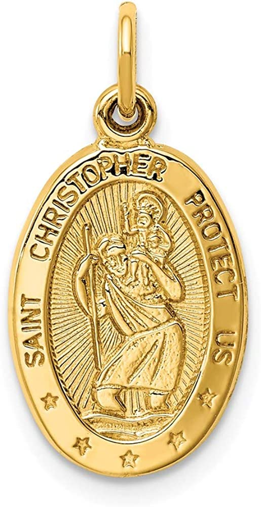 14k Yellow Gold Saint Christopher Medal Pendant Charm Necklace Religious Patron St Fine Jewelry For Women Gifts For Her