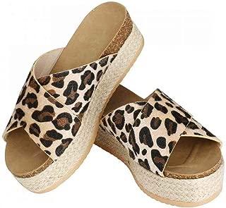 Womens Espadrilles Sandals,Casual Criss Cross Slide-on Open Toe Leather Studded Platform Sandals Summer Slippers Flatform Sandal
