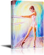 Canvas Prints Wall Art - Beautiful Young Ballerina/Ballet Dancer in Oil Painting Style   Modern Wall Decor/Home Decor Stretched Gallery Canvas Wrap Giclee Print & Ready to Hang - 24