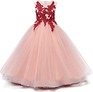 Girls Embroidered Prom Gowns Classic Birthday Wedding Party Long Dresses