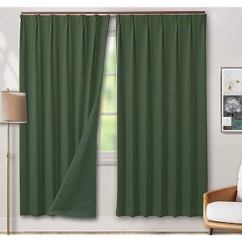 tkone 遮光カーテン 1級 カーテン ドレープカーテン 100×178cm 2枚 グリーン 遮光 断熱 防寒 防音 目隠し