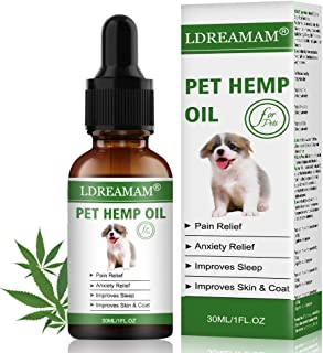 LDREAMAM Hemp Oil for Dogs Cats, Pets Hemp Oil for Pain Relief,Separation Anxiety Relief, Hips Pain, Pet Recovery, Sleep and Treats Skin