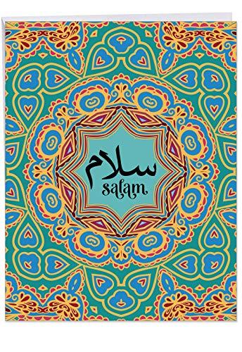 JJ6208BFRB Jumbo Salam Sentiment-Karte: Salam mit Botschaften des Friedens über bunte geometrische Muster, mit Umschlag, Größe: 21,6 x 27,9 cm