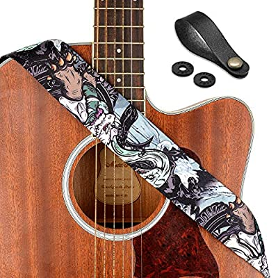 "Rinastore Guitar Strap Unique""Azure Dragon"" Shoulder Strap Includes Strap Button & 2 Strap Locks For Bass, Electric & Acoustic Guitars"