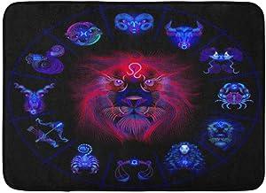 Doormats Bath Rugs Outdoor/Indoor Door Mat Lion Neon Horoscope Circle Signs of Zodiac Astrology Leo Pisces Cancer Bathroom...