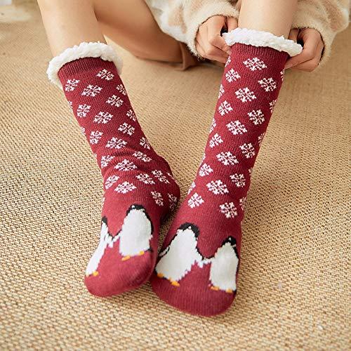 BAONUANM Slipper Sokken, Winter Warm Dikke Zachte Slip Wijn Rode Pinguïn Volwassen Slipper Sokken Midden Tube Tapijt Sokken Kerstmis Nieuwjaar