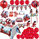 135 Pack Ladybug Themed Party Supplies Girls Birthday Party Decoration...