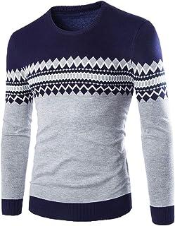 Men's Jumpers Basic Round Neck Knitting Pattern Color Block Sweatshirt Slim Fit Comfortable Pullover Long Sleeve Elegant L...