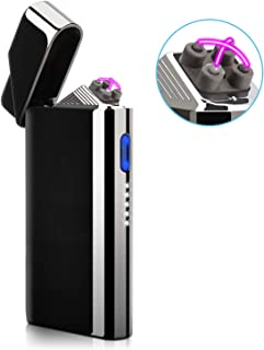 Lighter, Electric Lighter, Plasma Arc Rechargeable Lighter with Battery Indicator for Cigarette Candle Fire Pipe(Bright Black)
