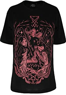 Restyle Lucifer Burgundy Wicca Witchcraft Gothic Oversized T-Shirt