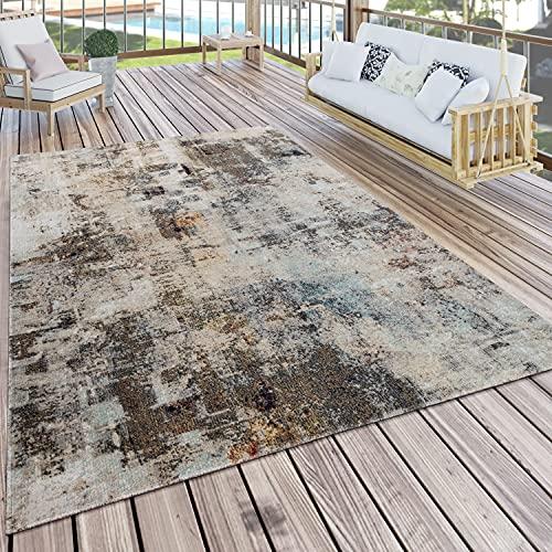 Paco Home In- & Outdoor Teppich Küchenteppich Terrasse Vintage Pastell Abstrakt Grau Creme, Grösse:80x150 cm